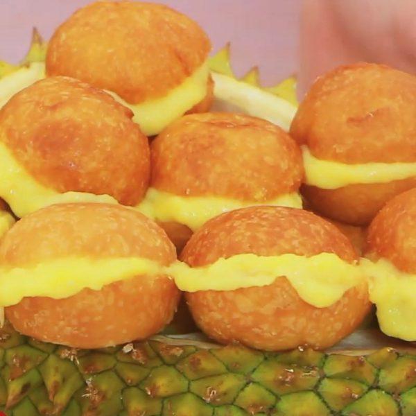 Cách làm bánh su chiên sầu riêng nước cốt dừa