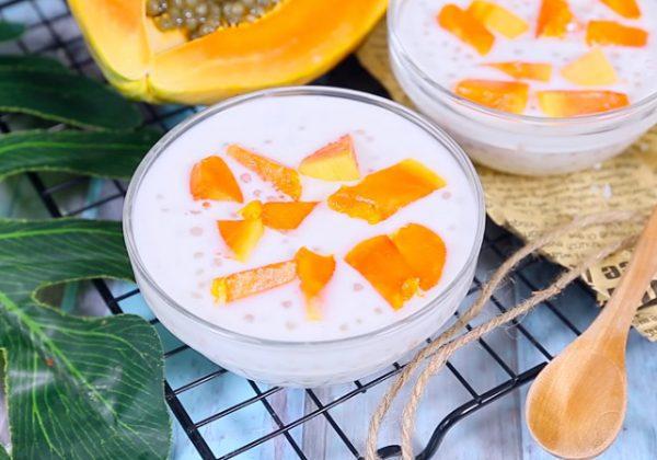 Cách làm chè đu đủ bột báng nước cốt dừa thơm ngon